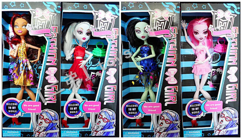 Best sale 8Pcs/lot,2013Fashion toys Popular Monster high dolls plastic girls' gift toys with window box packaging Free shipping