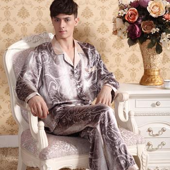 Male sleepwear spring and autumn long-sleeve faux silk sleepwear men's silk thin Men lounge set