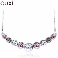 NLA030 Made With Verified Swarovski Elements Charm Beaded Chain Pendant Necklace Thick White Gold Plated Free Shipping