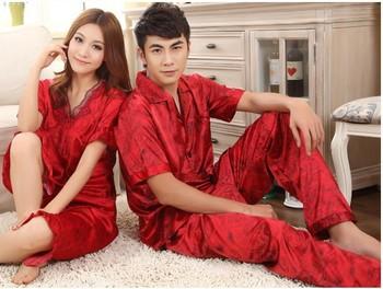 Big Discount Summer To Marry lovers Short Sleeve length Pants Silk Sleepwear Silk red SeT Silk lounge