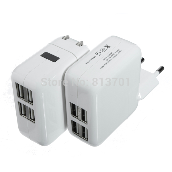 4 USB Ports EU/US/UK/AU Plug Home Travel Wall AC Power Charger Adapter For iPhone 4S 5S 5C iPad Air Mini Samsung Galaxy S5 S4 S3(China (Mainland))