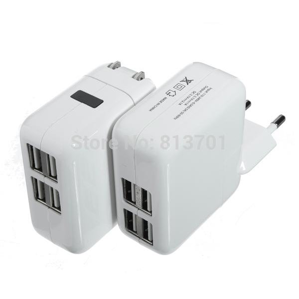 4 USB Ports EU/US/UK/AU Plug Home Travel Wall AC Power Charger Adapter For iPhone 4S 5S 5C iPad Air Mini Samsung Galaxy S5 S4 S3(China (Mainland))