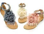 wholesale 2013 Biggest Promotion!!!new arrival sweaty women flat sandals with flower on top beading strip free shipping Flats(China (Mainland))
