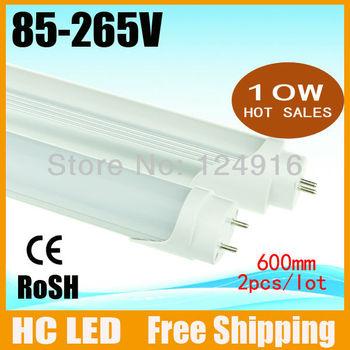 2pcs/lot Free Shipping NEW DESIGN 10W 850LM AC85V~265V 600mm T8 led tube light  2835 SMD led tube CE&ROSH Free Shipping