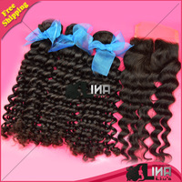 Mix lengths Lina liu Brazilian curly weft 3pcs/lot with 1 lace top closure natural black,unprocessed virgin hair free shipping