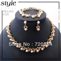 Fashion African Classic Clear Immitation Gold Wedding/Bridal pearl crystal necklace earring bracelet jewelry set Free shipping