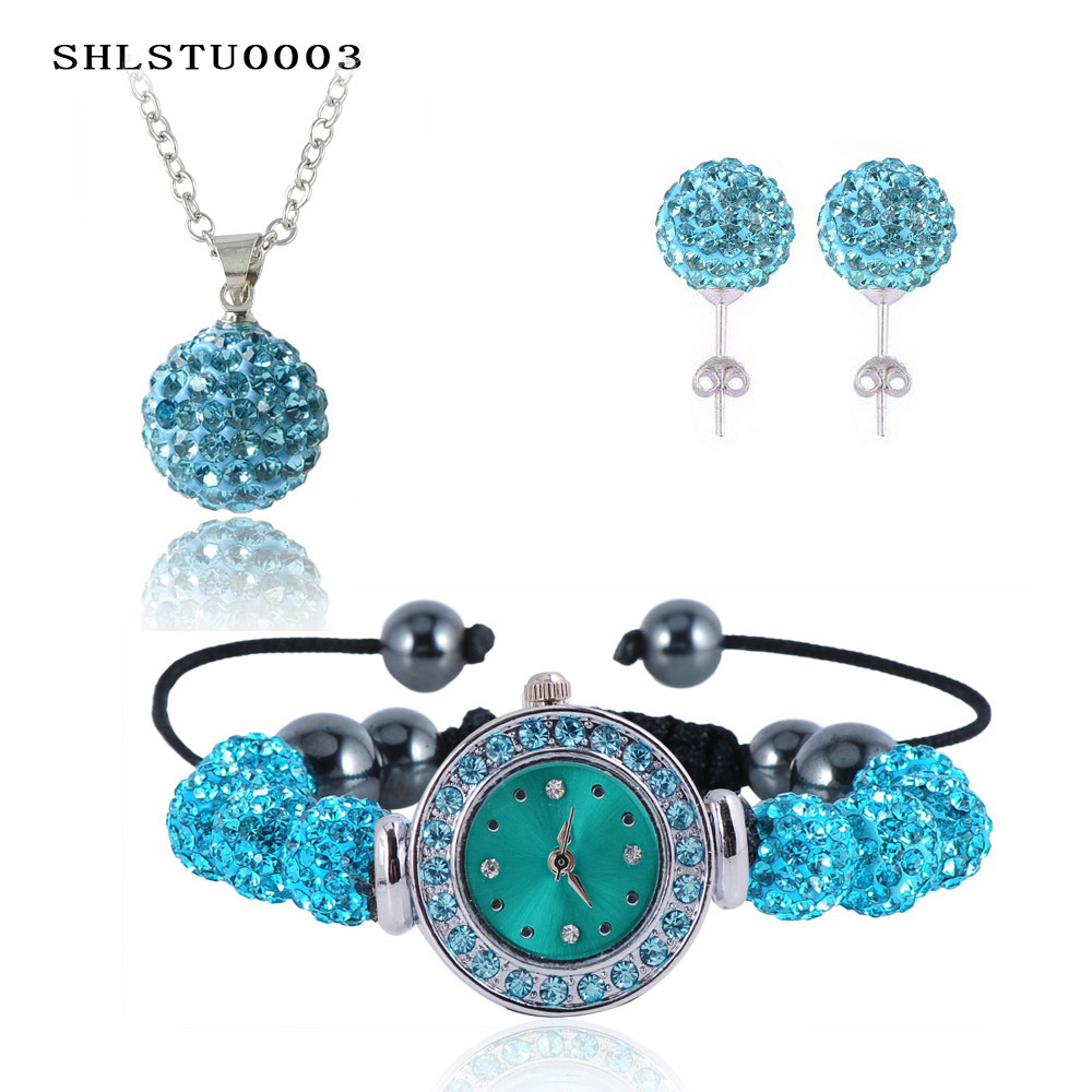New 10mm Balls Watch Shamballa Set Crystal Earrings/Crystal Necklace Pendant/Bracelet Jewelry Sets Mix Colors Options SHLSTUmix1(China (Mainland))