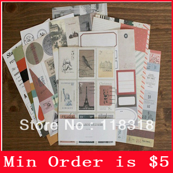 Min Order is $5,(1 lot=12 Sheets) DIY Scrapbook Paper Vintage Stamps Album Stickers Decoration Sticker Paper