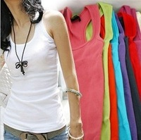 Free Shipping Summer hot-selling woven cotton rib knitting women tank Tops long design