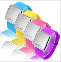 Hot sell promotion Wholesale Fashion silicone LED mirror silicone watch. unisex Led wrist watch available free shipping