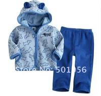 Hot sale children girl suit clothes sets baby suits hooded pants sets blue and purple colors