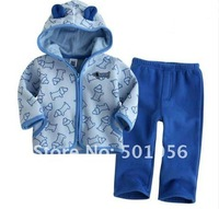 Retail long sleeve children girl suit clothing sets hooded pants sets blue and purple colors