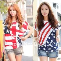 2014 New Women's Wear SPRING Summer Short Sleeve T shirts Lace blouse Tops & tee Women plus size flag shirts fashion T-Shirt