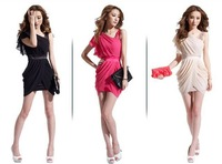 2013 New arrived women's ruched chiffon Formal evening dresses freeshipping