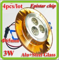 Free shiping 4 pcs/lot Aluminum glass AC110V 120V 220V 230V 240V 3w recessed led ceiling lamp for kitchen house 65mm cutout