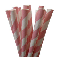Free Shipping 100pcs Biodegradable paper drinking straws light pink stripes, Wedding, Birthday Decorate ,Event & Party Supplies