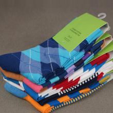 frete grátis algodão penteado homens marca meias, meias vestido colorido( 5 par/lote)(China (Mainland))