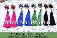 ZH0157 IVY Store  high Quality long tassel Earrings fashion jewelry 2013 earrings Drop earrings glass bead earrings