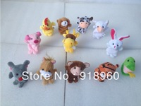Free Shipping Baby Kids Toys/Plush Toy Finger Puppets/18 pcs/lot (18 animal group)/Children Gift/Tell Story Props Animal Doll