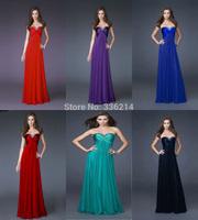 2014 New Stock Turquoise/Blue/Red/Black/Purple Sweetheart Beading Chiffon Floor-Length Bridesmaid Dresses Formal Prom Desses