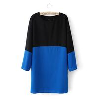 Free Shipping Women Summer Dress Long Sleeve Casual Dress Evening Party Chiffon Blue/Black Red/Black White Patchwork Dress