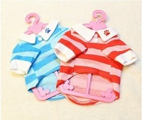 1 piece CUTE RED/BLUE Stripe PET PUPPY CATS DOG CLOTHES T-SHIRT Casual t shirt for dog