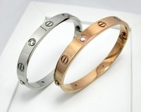Free Shipping Fashion jewelry Men WomenTitanium Stainless Steel Zircon Bangle Rose Gold Gift  Bracelet