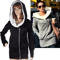New fashion Korea Women Hoodies Coat Warm Zip Up Outerwear Sweatshirts 2 Colors Dropshipping 3269