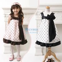 2014 New Spring Baby kids Polka Dot Bowknot Sleeveless Sling Georgette Girls Party Princess Dress Black/Coffee 1-5 years 19885