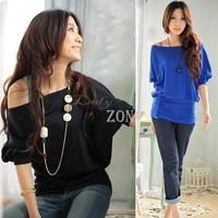 Dropshipping 3pcs/lot Sexy Trendy Off Shoulder Women T-Shirt Buttons Top Blouse Comfortable Cotton Material M,L,XL 3109