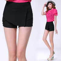 2013 new saia casual skort pants shorts culottes women autumn winer PU cheap high waisted leather shorts saia skirt brand