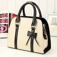 Hot Selling 2013 fashion bow PU leather women's bag  elegant  women leather handbag  shoulder bags ,wemen messenger bag totes