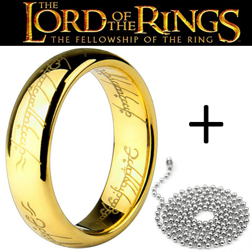The Lord of the Rings 18K gold plated ring with bead chain 316L Stainless Steel men women jewelry Free shipping wholesale lots(China (Mainland))