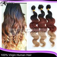 2015 Three tone 10-30inch queen peruvian virgin hair extension body wave free shipping