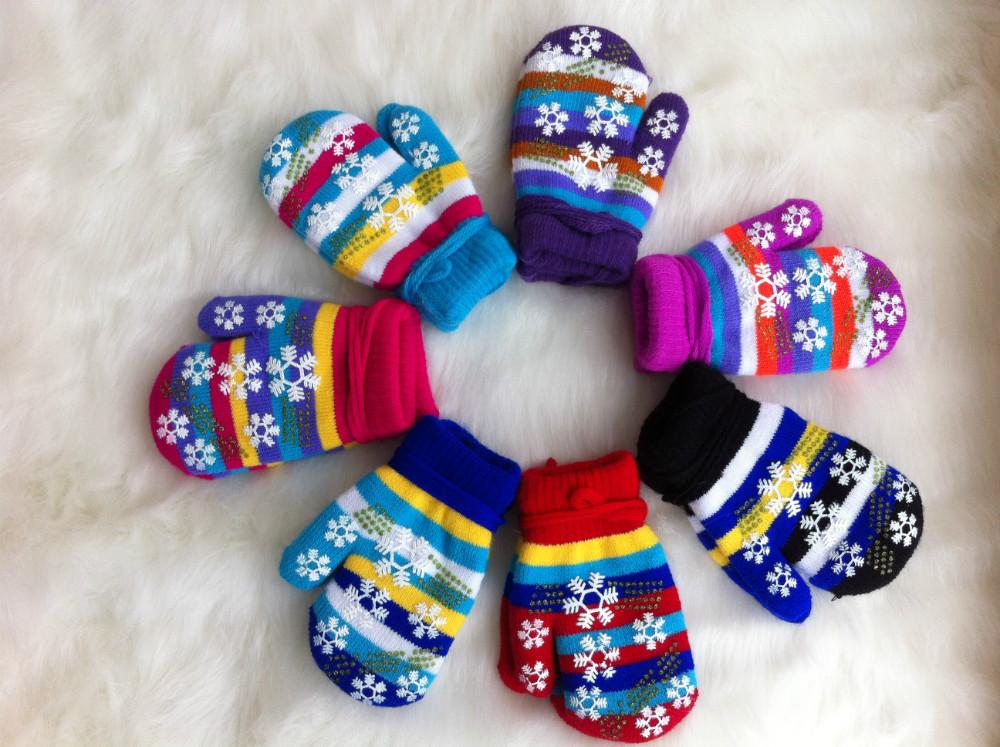 Winter warm kids boys girls gloves with rope mittens children gloves
