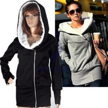 FreeShipping New 2014 Korea Women Hoodies Coat Warm Zip Up Outerwear Sweatshirts 4 Colors Black Gray Pink Blue
