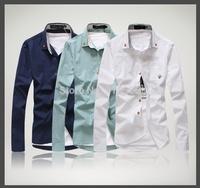 2014 new brand mens shirts casual slim fit social/mushroom logo/camisas slim fit masculina/camisa manga longa masculina/MOW
