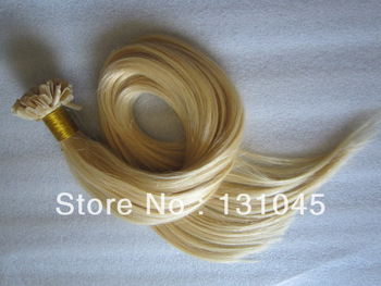 Pre Bonded U Nail Tip Fusion Remy Human Malaysia Hair Extensions 18-28inch # 613  6A platinum blonde 1g/S 100g free shipping