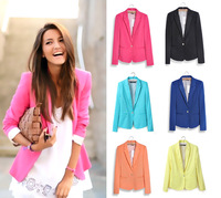 New Free shipping Womens Tunic Foldable sleeve Blazer jacket candy color lined striped Z suit one button shawl cardigan Coat