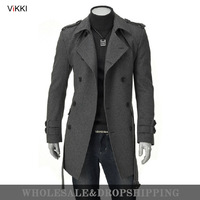 Free shipping 2013 Korean fashion men male winter  wool trench,coat,overcoat,outwear,long double-breasted,latest style M-XXXL