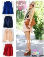 Fashion High Waist Pleated Double Layer Chiffon Short Sexy Mini Skirts