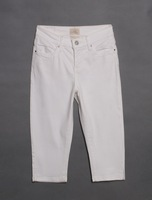 PLUS SIZE American famous brand hot slim stretch cotton high waist straight white casual capris pants, size S, M, 6XL