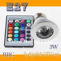 E26 E27 LED RGB Spotlight +IR Remote Control 3W 85-265V 16Colors Changing LED Lamp LED Bulb 5Set/lot