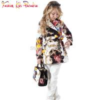 2014 Brand New Girls Jackets & Coats Double-breasted Children Winter Outwear Totem Pattern Kids Jackets Girl Coat Outerwear