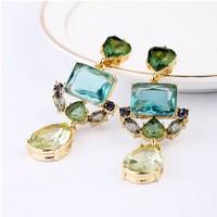 Free Shipping Unique Women Fashion Dangle Earrings Luxury European Environmental Alloy Green Crystal Drop Earrings