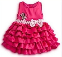 baby girls autumn-summer dresses cartoon minnie sleeveless bow decor waist tiered party dress for kis product