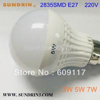 Free shipping 5pcs/lot 220v led lamp bulb High brightness E27 3W 5W 7W 2835SMD Cold white/warm white