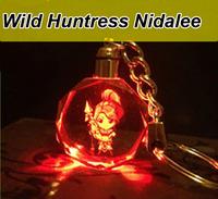 1PC Quality White Crystal LED Colorful Flash Light  Key Holder LOL Wild Huntress Nidalee Gifts Keychain