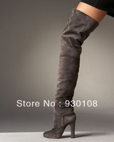fashion winter women designer leather boots!chunky heel suede leather thigh high boots for women 2013!