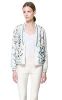 Woman Light green Vertical  Flower Prints V-neck Bomber Jackets Lady Casual Coats BL3059-Q03